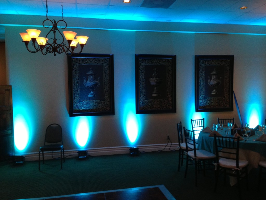 Five Blue Uplights on Wall